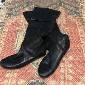 Leather Knee High Flat Boots